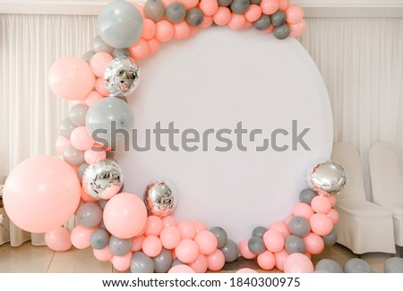 Close up the photo zone from pink and grey balloons with white copy space for your text. Party decorated with balloons Imagine de stoc ©