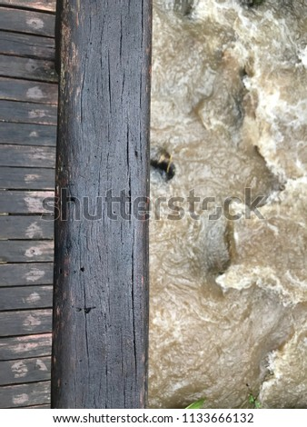 close up the wood bridge upper...