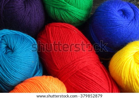 close up thread for knitting of various colors #379852879