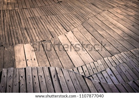 Close up to Abstract wooden floor on background view. Outdoor wallpaper.