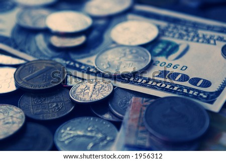 Close-up to international coins and paper money