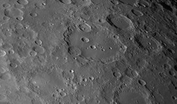 Close up to the Clavius crater on Moon and other details in the backgound.