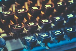 Close Up Toned Photo Of Antique Typewriter Keys. Old Manual Retro Keys, Vintage Keyboard.