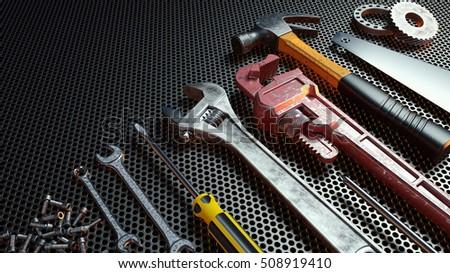 Close-up tools .3d Rendering.