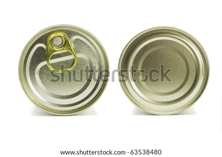 Close up top and under side of tin can on white background