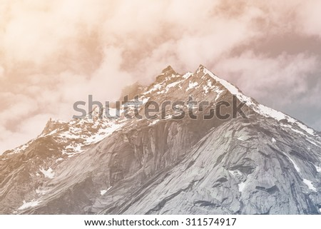 close up top of mountains...