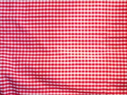 Close up top view of red and white plaid cotton tablecloth. Background use.