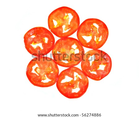 close up top view of sliced tomato