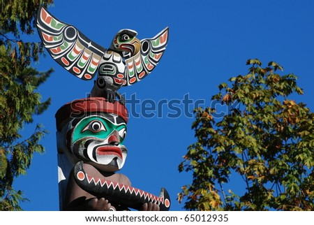 Close-up Totem shaped in Stanley park, BC Canada