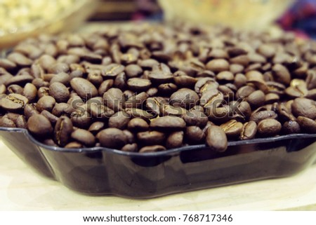 close up tray of coffee bean roasted with blur background #768717346