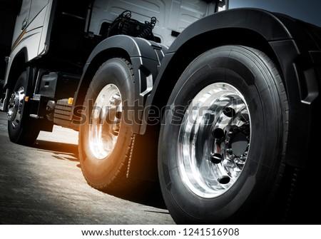 close up truck tire, wheel of semi truck