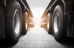close up truck wheels, semi truck trailer parking, road freight transport