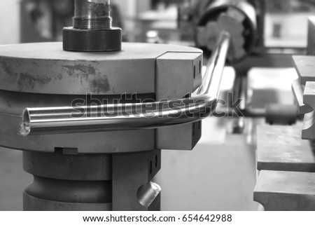 close up tube bending machine in the factory