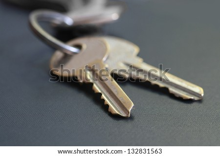 close up two key on grey background, Bunch of keys.