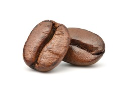 Close-up Two roasted coffee beans isolated on white background. Clipping path