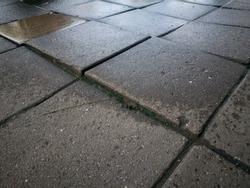 close up uneven wet concrete pathway surface background
