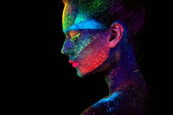 Close up UV abstract portrait