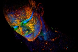 Close up UV abstract portrait Halloween
