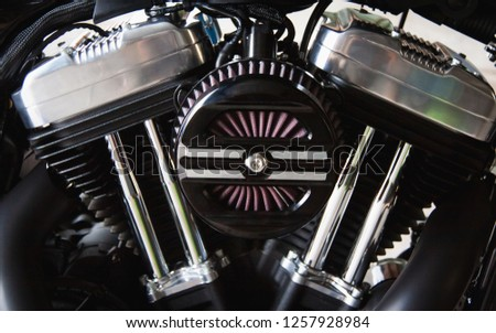 Close up V-Twin motorcycle engine. #1257928984