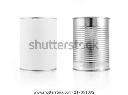 Photo of  Close-up various metal and white tin can on white background separated shot. Include clipping path in both object.