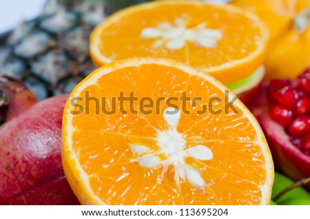close up various of fresh tropical fruits