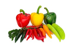 close-up, vegetables, fruits, bell peppers, red chili paprika green sweet-spicy combination on a white background