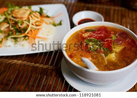 Close up vietnam nationality food style on the table