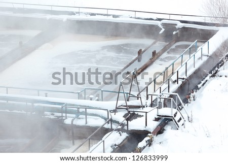Close up view aeration tank in sewage treatment plant
