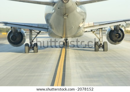 Close up view behind a jumbo jet