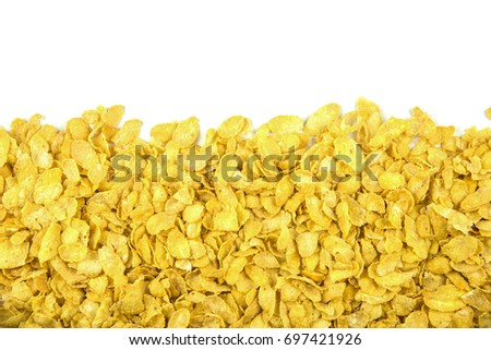close up view cornflakes on white background #697421926