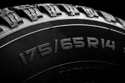 close up view for a tyre overall diameter label. tire with r14 radius for cars.