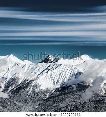 Close up view from the Rosa Peak of  Caucasus mountains. Krasnaya Polyana (Rosa Khutor alpine ski resort), Western Caucasus, Russia.