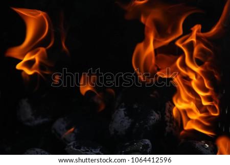 Close up view inside the bbq grill on burning open fire with red flame, hot  charcoal briquettes and embers. Abstract background and natural texture #1064412596