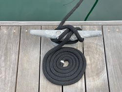 Close-up view nautical rope on dock