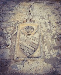 Close up view od heraldic emblem carved in the stone