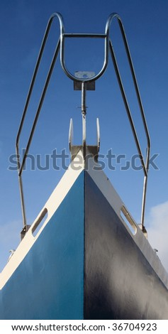 Close up view of a boat bow