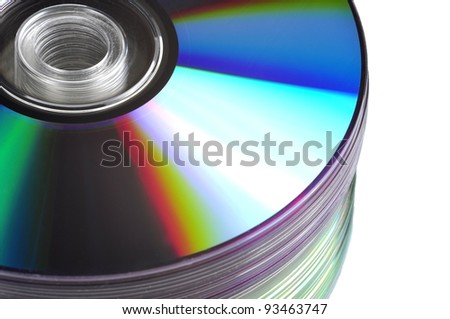 Close up view of a CD/DVD stack on a mirror
