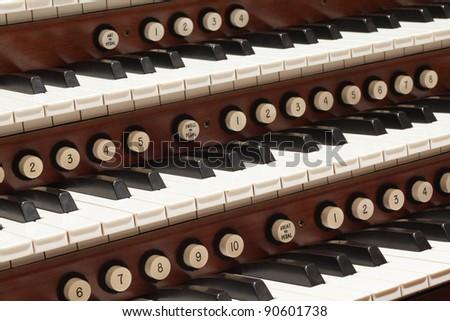 Close up view of a church pipe organ.