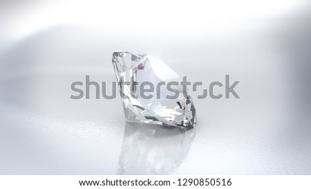 Close-up view of a clear round brilliant cut diamond with caustics rays on white background. 3D rendering illustration - Illustration #1290850516