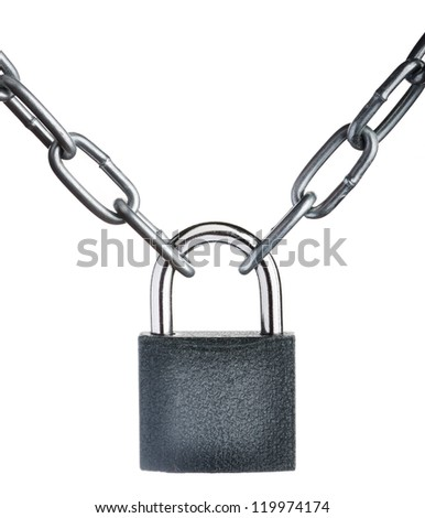 Close-up view of a closed chain with a padlock on white background