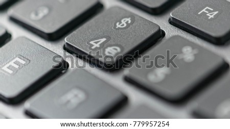 Close up view of a computer keyboard keys