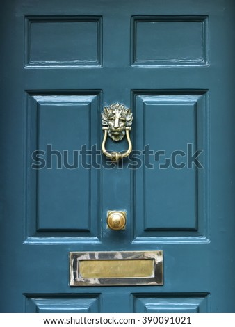 Close-Up View of a Front Door of a London Town House