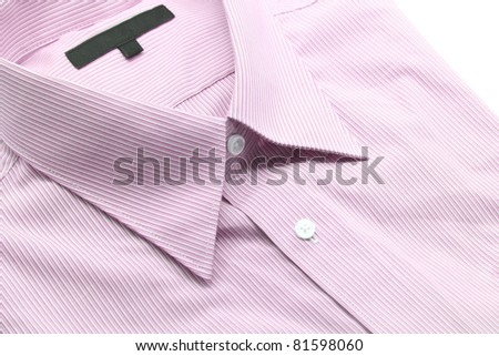 Close up view of a generic red business shirt with a line pattern