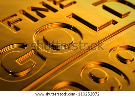 Close-up view of a gold bar with shallow depth of field.
