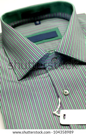 Close up view of a green formal shirt