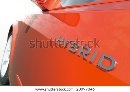 Close up view of a hybrid car
