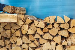 Close up view of a man putting firewood in a woodpile. Sweden.
