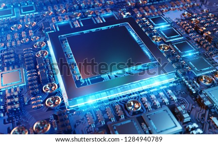 Close-up view of a modern GPU card with circuit and colorful lights and details 3D rendering #1284940789