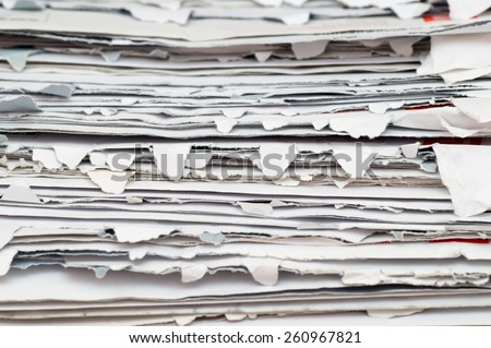 Close up view of a packet of opened envelopes