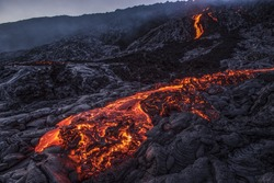 close-up view of a pahoehoe lava flow